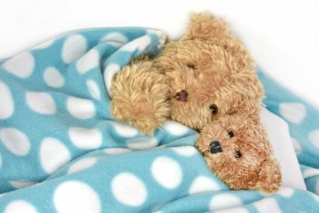 teddy bears snuggling under polka dot fleece blanket Stock Photo