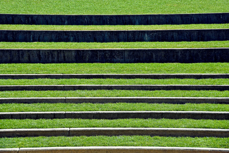 open air seating with grass in outdoor amphitheater