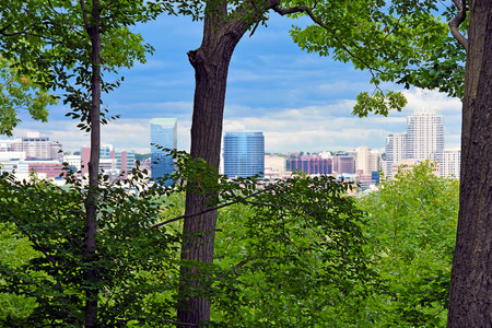 Grand Rapids, Michigan city skyline with summer trees