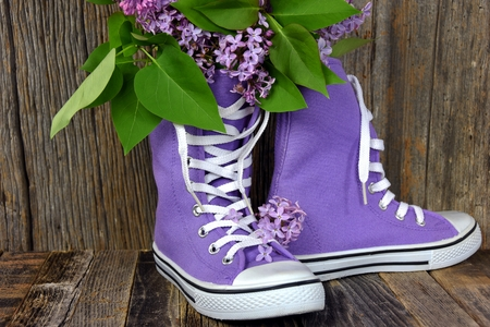 shoestring: lilac bouquet in a pair of purple high top sneakers on rustic barn wood