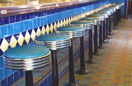 Rétro tabouret de salle à manger avec effet impressionniste crayon Banque d'images - 61836954