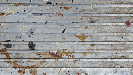 grime: dirty stains on gray metal sheet plating Stock Photo