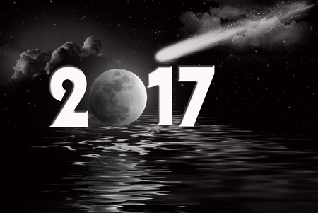 comet: New year moon and comet for 2017 with black water reflection Stock Photo