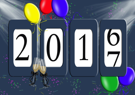 new year party: Odometer for New Year 2017 with party balloons and champagne flutes on confetti background