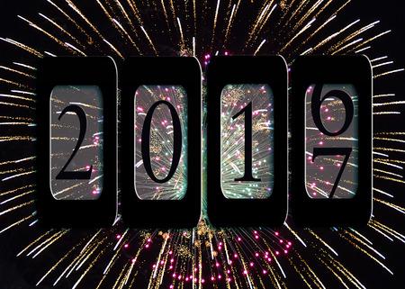 New Year 2017 kilometerteller op vuurwerk Stockfoto