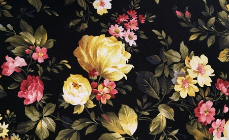 upholstery: peony and daisy pattern on black upholstery textile Stock Photo