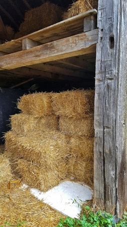 hayloft: hay bales in old barn with hayloft Stock Photo