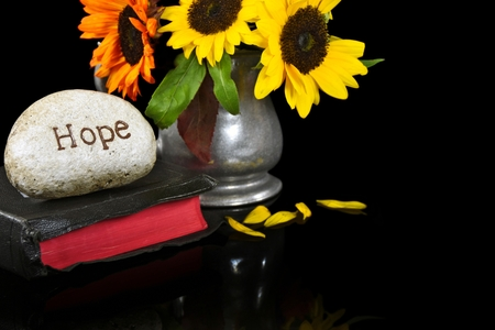 hope carved in stone on Bible with sunflower bouquet