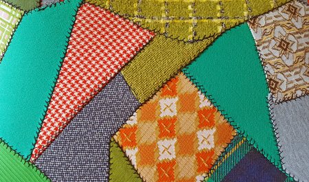 patchwork quilt: crazy patchwork quilt with retro fabric
