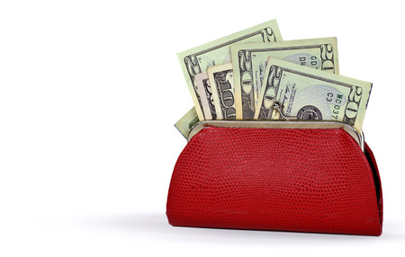 change purse: money in red change purse isolated on white