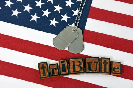 letterpress type: dog tags and word tribute in old wooden letterpress type on flag