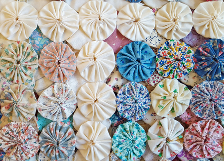 puff: circle puff patchwork quilt Stock Photo
