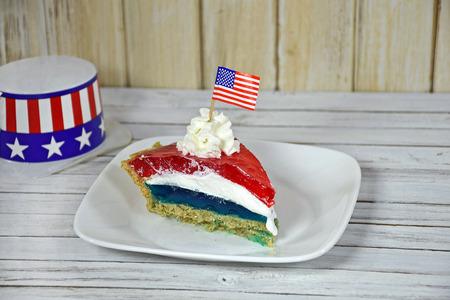 jello: jello pie with American flag and patriotic hat Stock Photo
