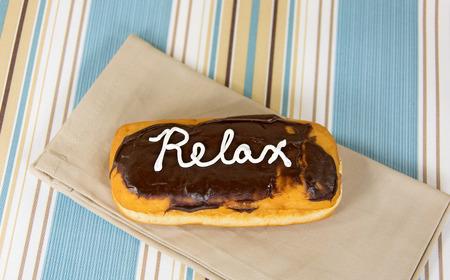 word は、チョコレート ドーナツでリラックスします。