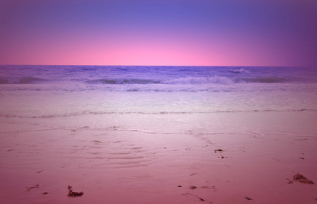 eventide: glowing sunset over the Gulf of Mexico and Florida beach Stock Photo