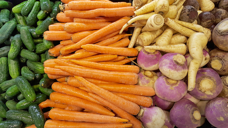 variety of fresh vegetable at the market Stock Photo