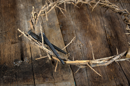Close up of rusty nails on crown of thorns and rustic wood Stock Photo
