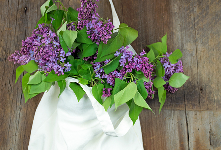 Lilac bouquet in hanging muslin sack on rustic wood Stock Photo