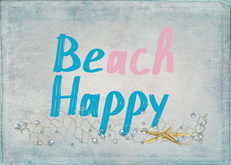 beach happy text with starfish and bubbles in nautical net on textured background Reklamní fotografie