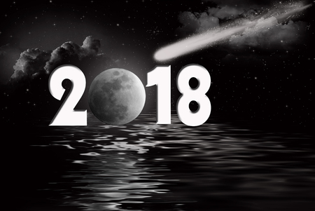 Comet and moon for New Year 2018 with black water reflection Фото со стока