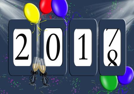 Neujahr 2018 Kilometerzähler mit Partyballons und Konfetti Standard-Bild - 82481338