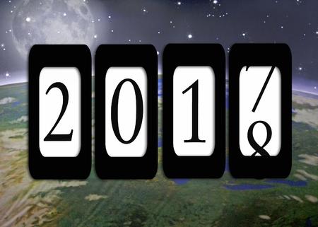 Nieuwjaar 2018 kilometermeter op de buitenste planeet Aarde achtergrond