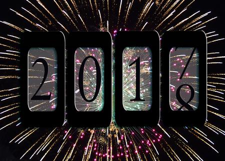 Nieuwjaar 2018 kilometermeter met vuurwerk
