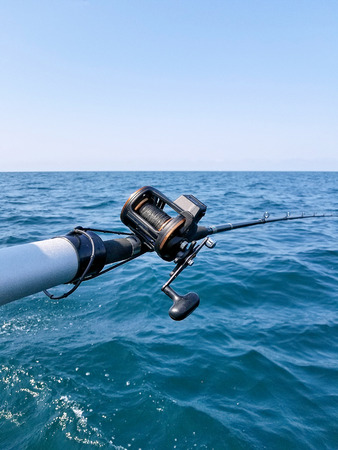 fishing pole and and reel over Lake Michigan water
