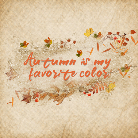 inspiration autumn quote with leaves and acorn on textured background