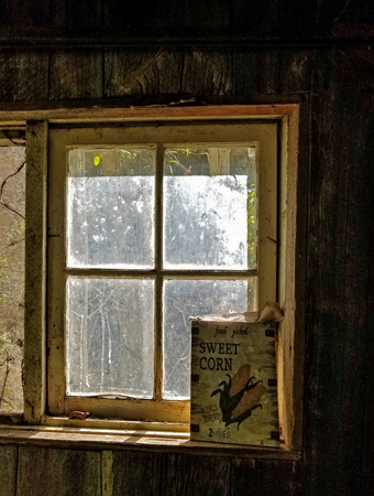 vintage sign in grungy window of old store