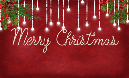 Merry Christmas in rope text font on textured red with illuminated light string and pine branches