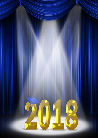 blue stage curtains with gold 2018 text in spotlight for graduation Stock Photo