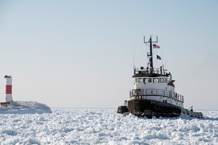 tugboat stuck in Lake Michigan ice