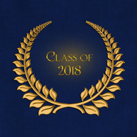 gold laurel for 2018 graduation on dark blue background