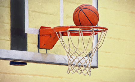 basketball in hoop and net with impressionistic effect