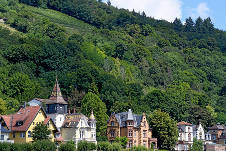 Row of old homes at the bottom of a mountain in Heidelberg Germany
