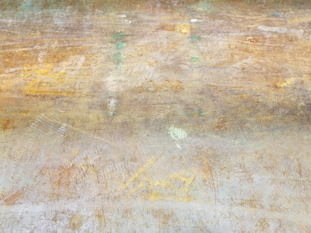 close up of scratches on painted rusty metal