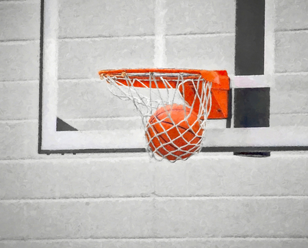 basketball in hoop net with impressionistic effect and selective color Stock Photo
