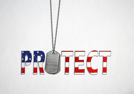 American flag design and military dog tags on soft textured white background with text word protect Stock Photo