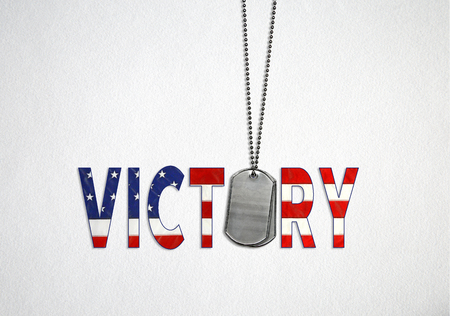 American flag design and military dog tags on soft textured white background with text word victory