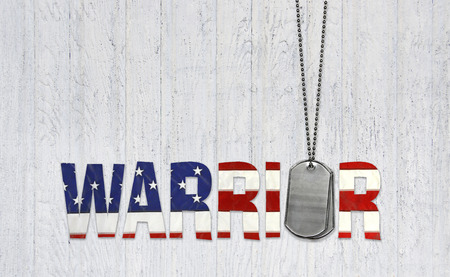 military dog tags with warrior text in American flag pattern on whitewashed wood