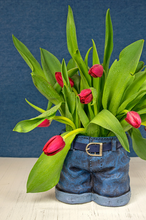red tulip bouquet in denim blue jean pot on wood 版權商用圖片