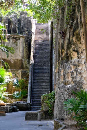 historic Queens Staircase landmark with palm trees in Nassau Bahamas