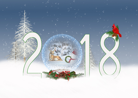 snowman and deer in 2018 Christmas snow globe with red cardinal and winter trees