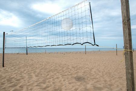white volleyball in net on Lake Michigan beach