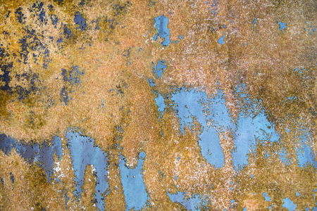 close up of weathered blue paint on surface Stock Photo