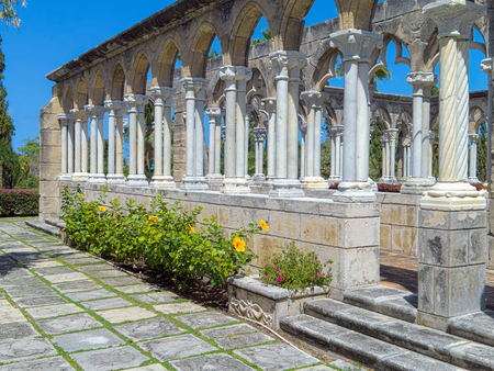 old Roman style architecture in Versailles Garden on Paradise Island  in Nassau Bahamas Stock Photo