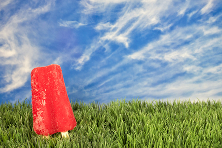 single red ice cream in green grass with summer sky background