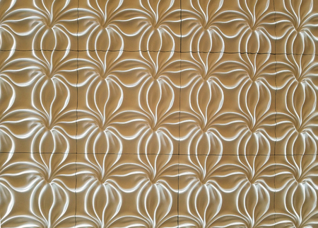 contemporary white floral abstract design on gold background