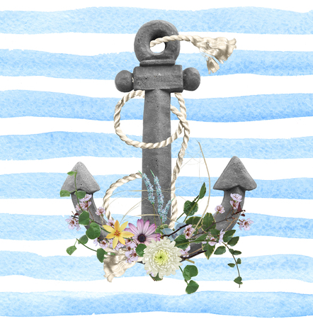 flower bouquet with rope and gray anchor on blue and white watercolor stripe background